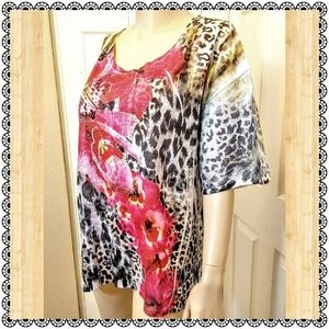 Sequined & studded leopard & floral top, sz 2X